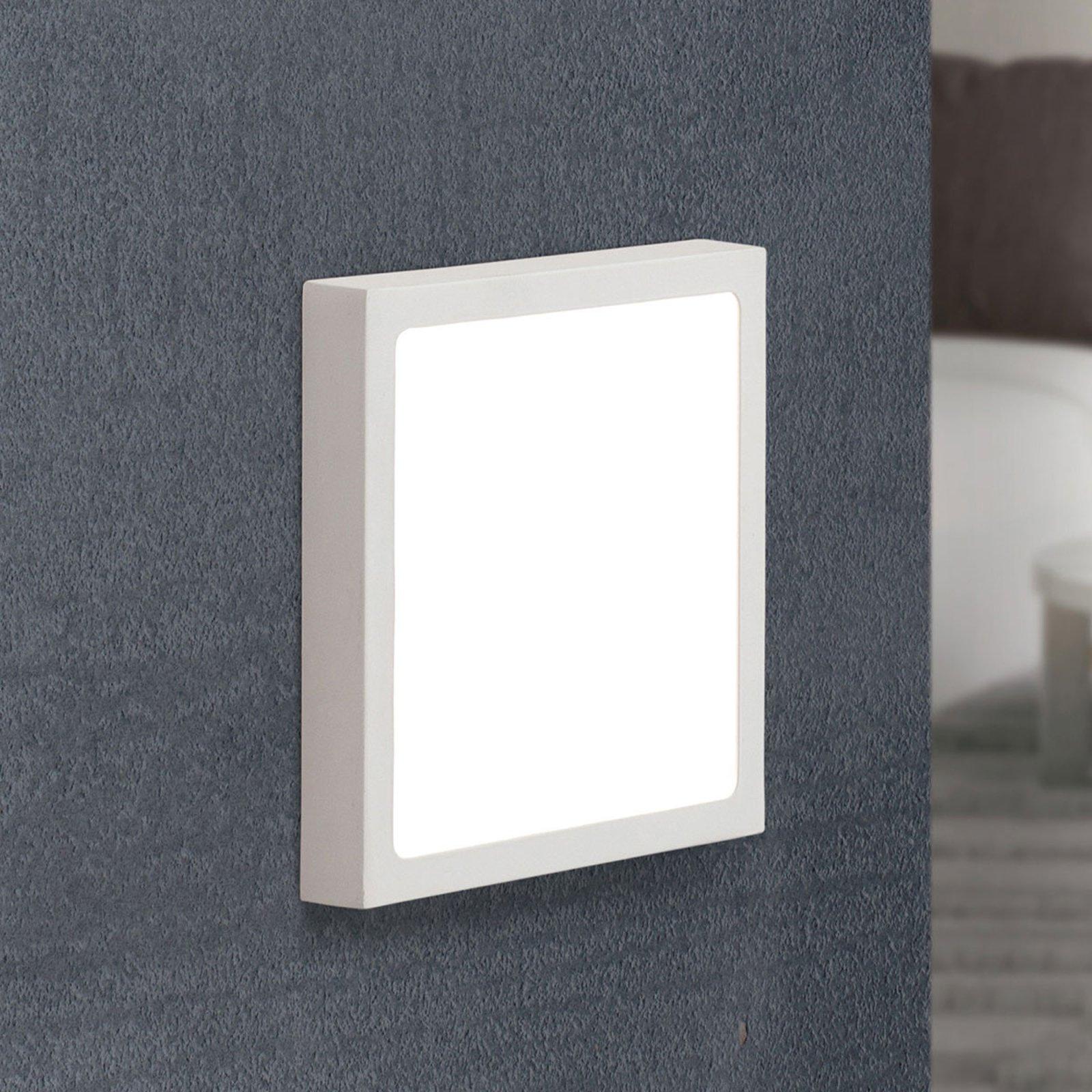 LED-vegglampe Vika, firkantet, hvit, 18x18cm