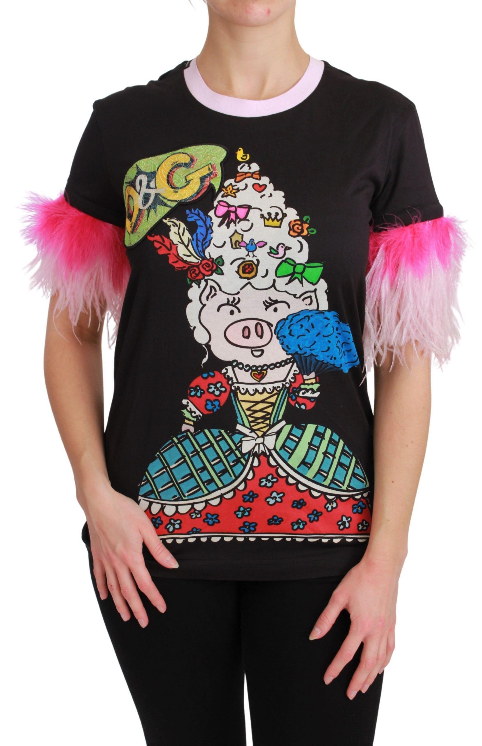 Dolce & Gabbana Women's Sleeve Short T-Shirts Black TSH4555 - IT36   XS