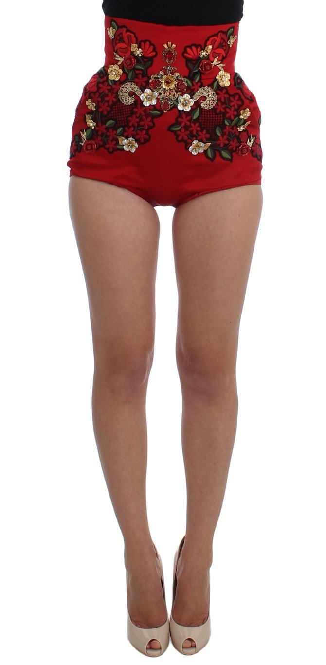 Dolce & Gabbana Women's Silk Crystal Roses Shorts Red SIG20121 - IT40|S