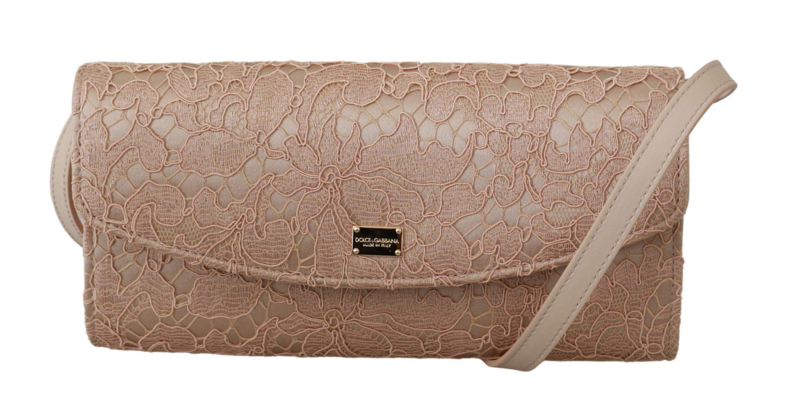 Dolce & Gabbana Women's Floral Lace Evening Long Cotton Crossbody Bag Beige VAS9209