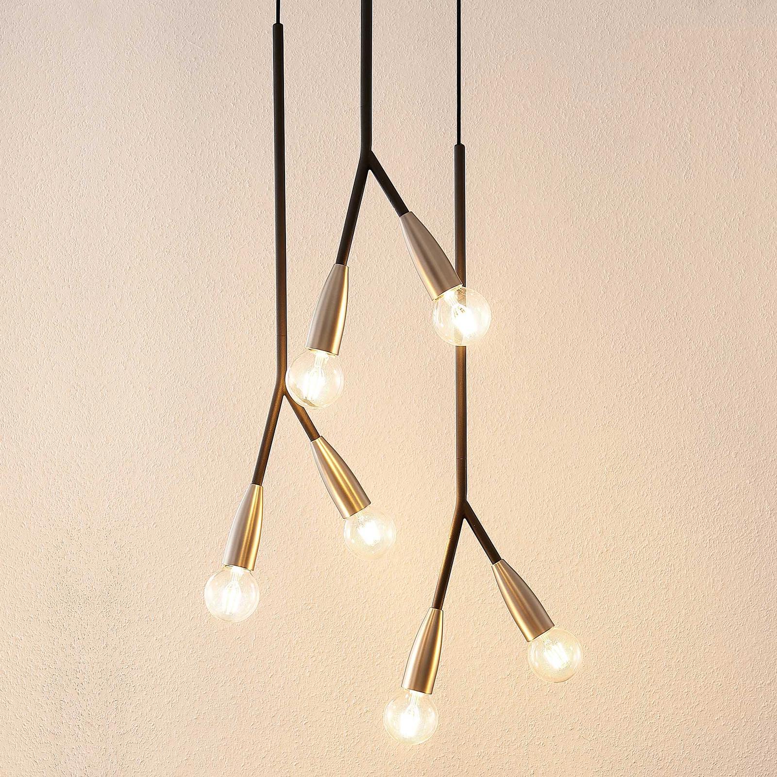 Lucande Carlea -riippuvalo, 6-lamp. musta-nikkeli