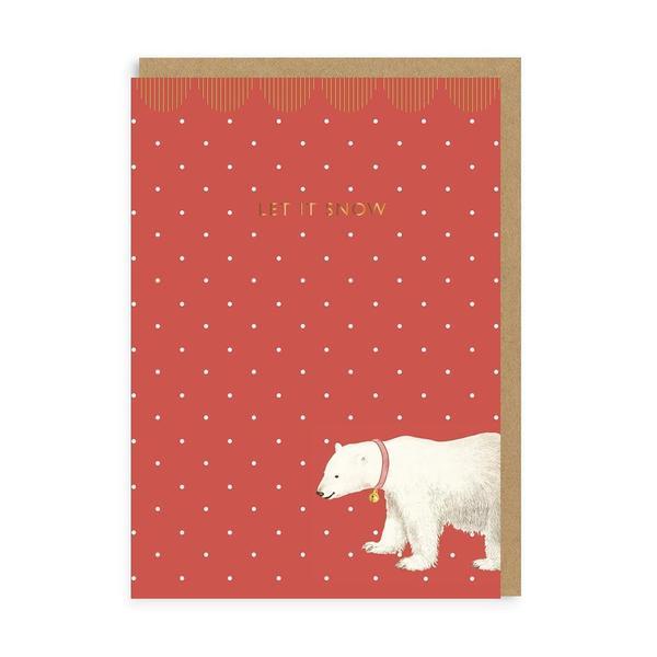 Let It Snow Polar Bear Christmas Card