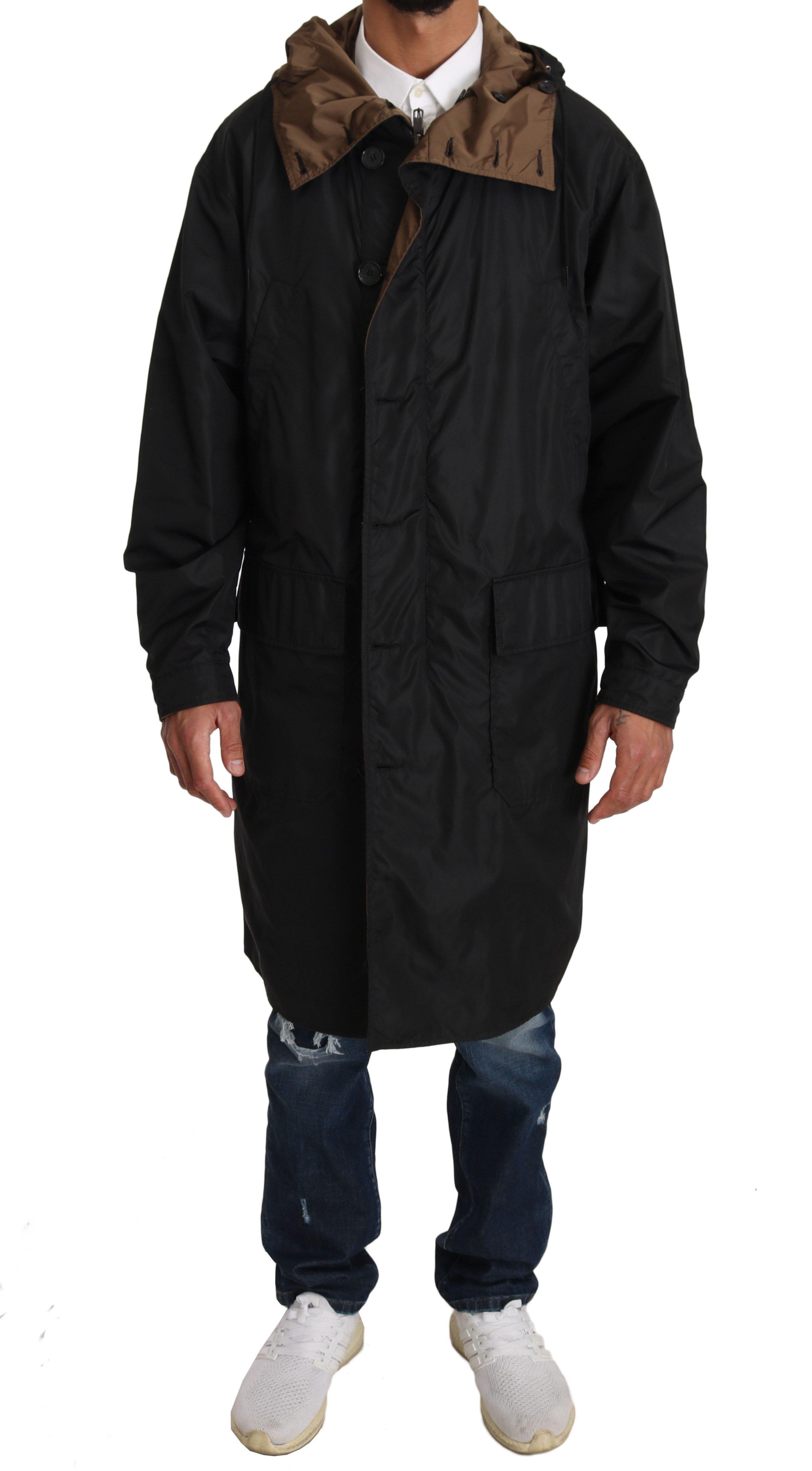Dolce & Gabbana Men's Hooded Reversible Raincoat Black JKT2244 - IT46 | S