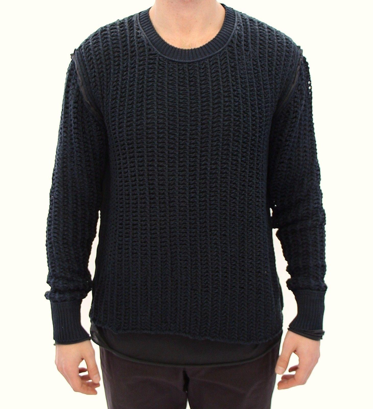 Dolce & Gabbana Men's Runway Netz Pullover Netted Sweater Blue GTH10687 - IT48 | M