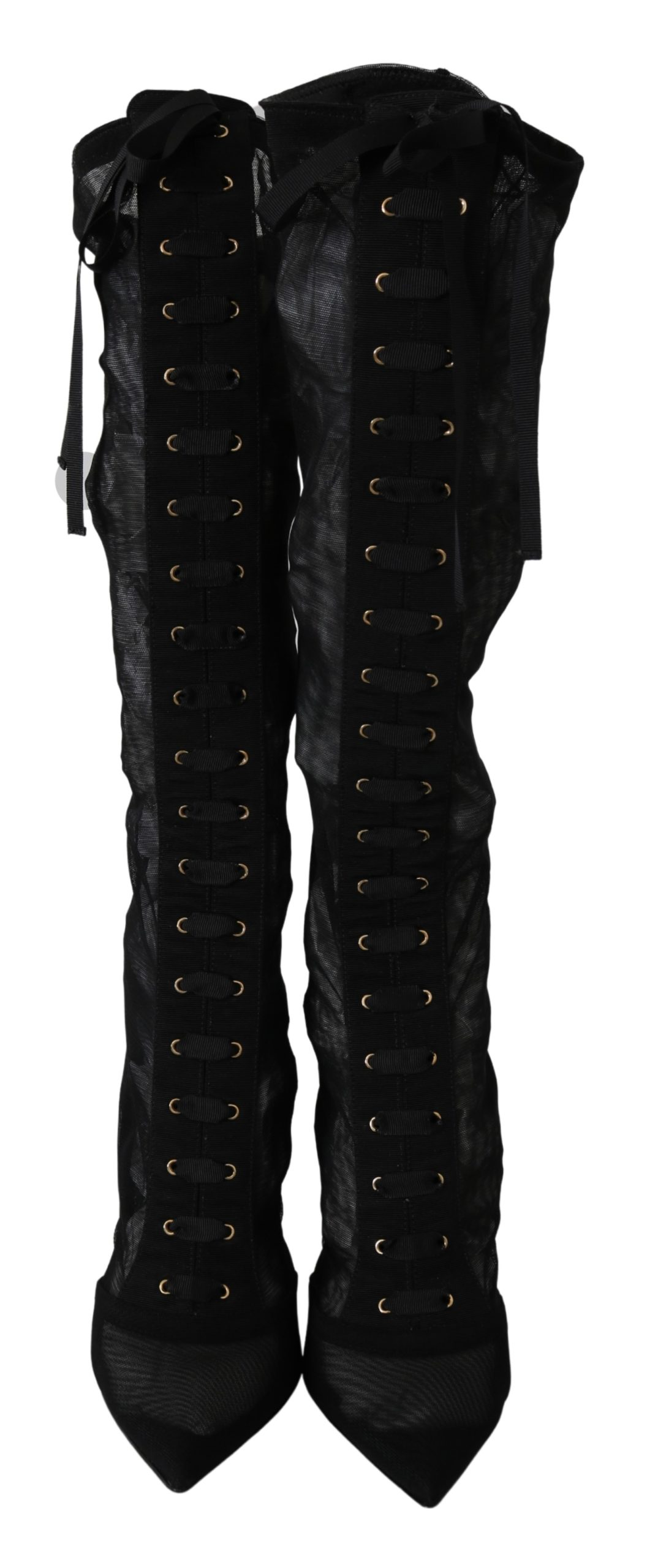 Black Tulle Stretch Knee Socks Shoes Boots - EU40/US9.5