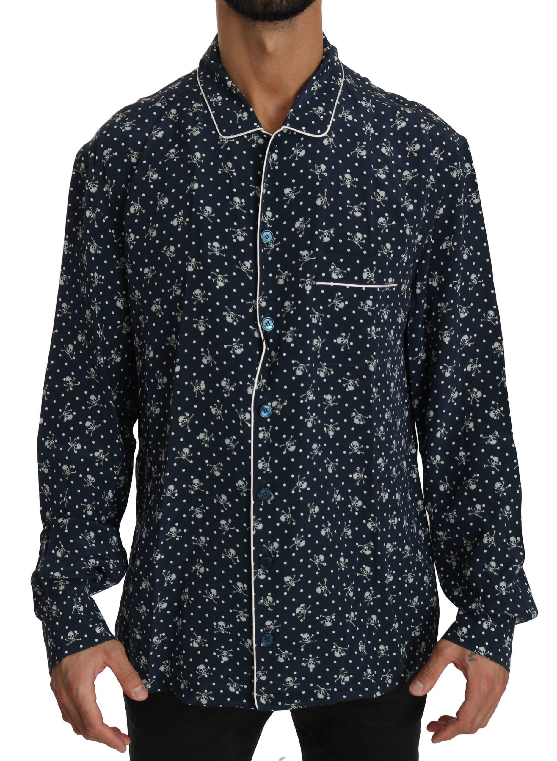 Dolce & Gabbana Men's Skull Print Silk Sleepwear Shirt Blue TSH4014 - IT41   L