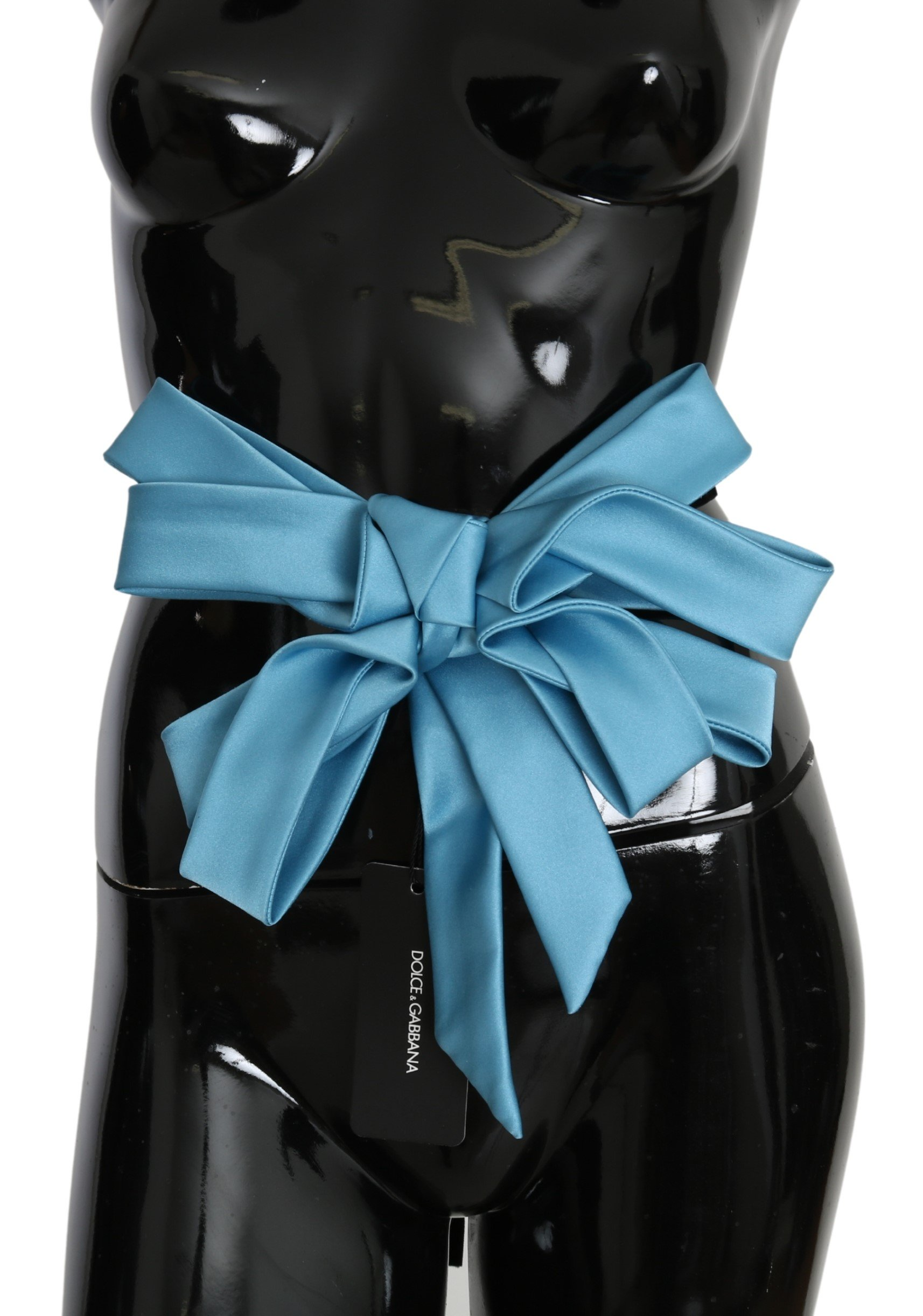 Dolce & Gabbana Women's Silk Waist Ribbon Bow Belt Blue BEL60702