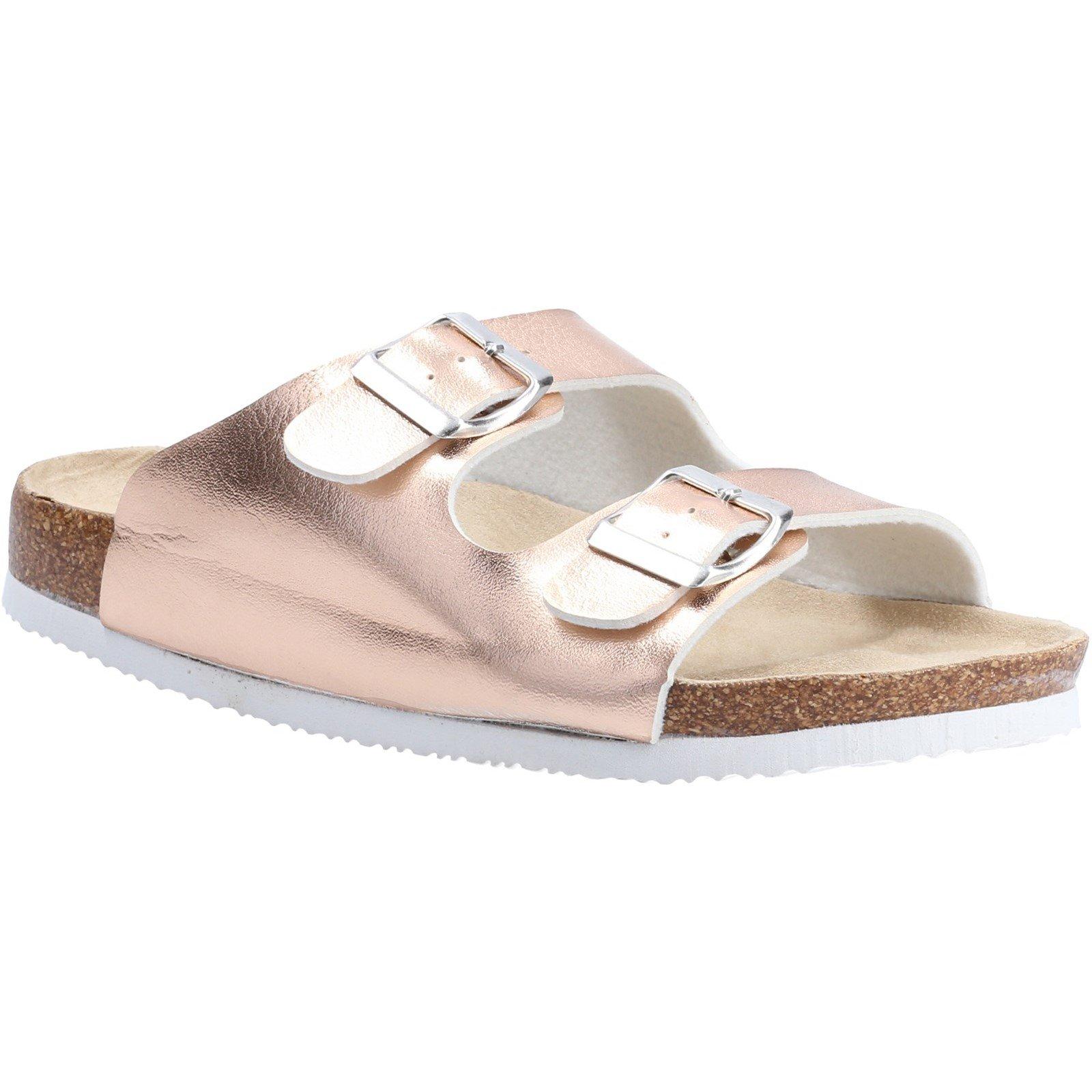 Divaz Women's Nimes Two Buckle Sandal Various Colours 31920 - Rose Gold 3