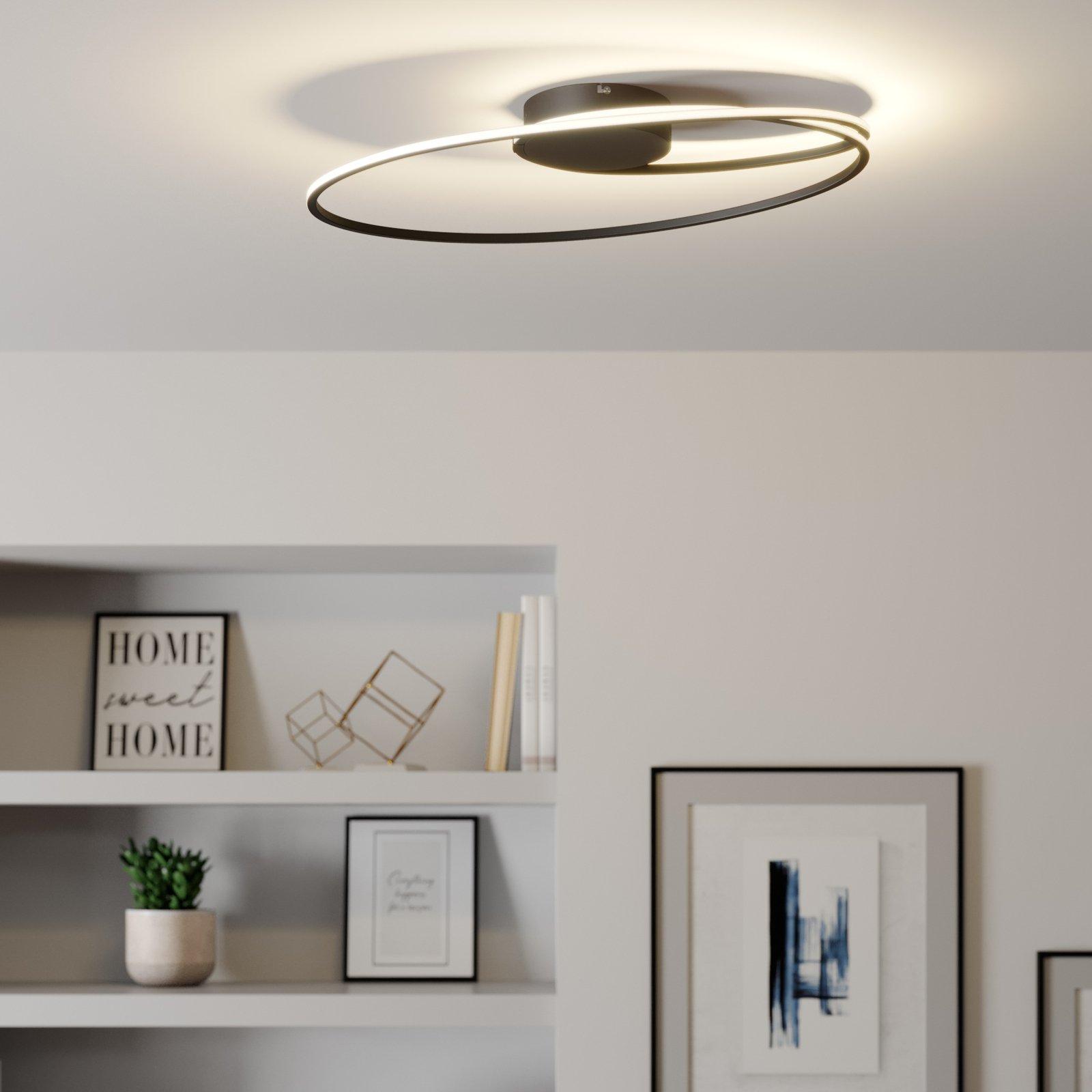 Lindby Xenias LED-taklampe, svart, 60 x 35 cm