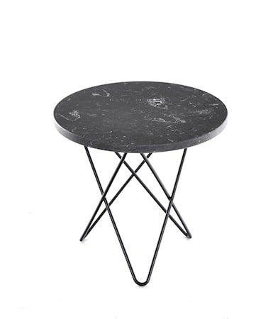 Mini O Table Svart Marmor med Svart Ramme Ø40