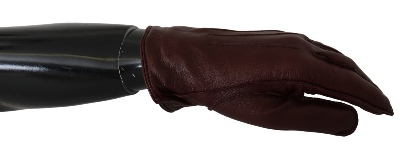 Dolce & Gabbana Women's Wrist Length Mitten Leather Gloves Bordeaux LB1012 - 10 | XL