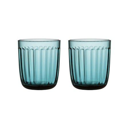 Raami Drikkeglass Havblå 26 cl 2-pakning