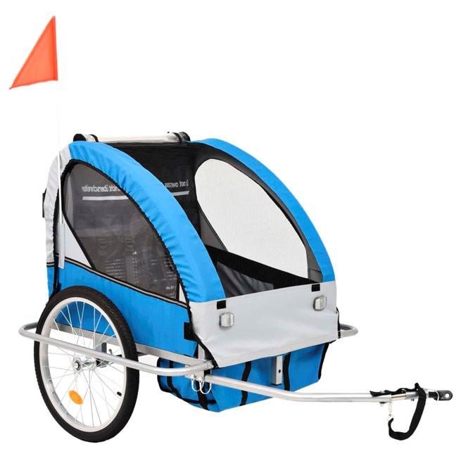 vidaXL 2-i-1 Barncykelvagn & gåvagn blå och grå