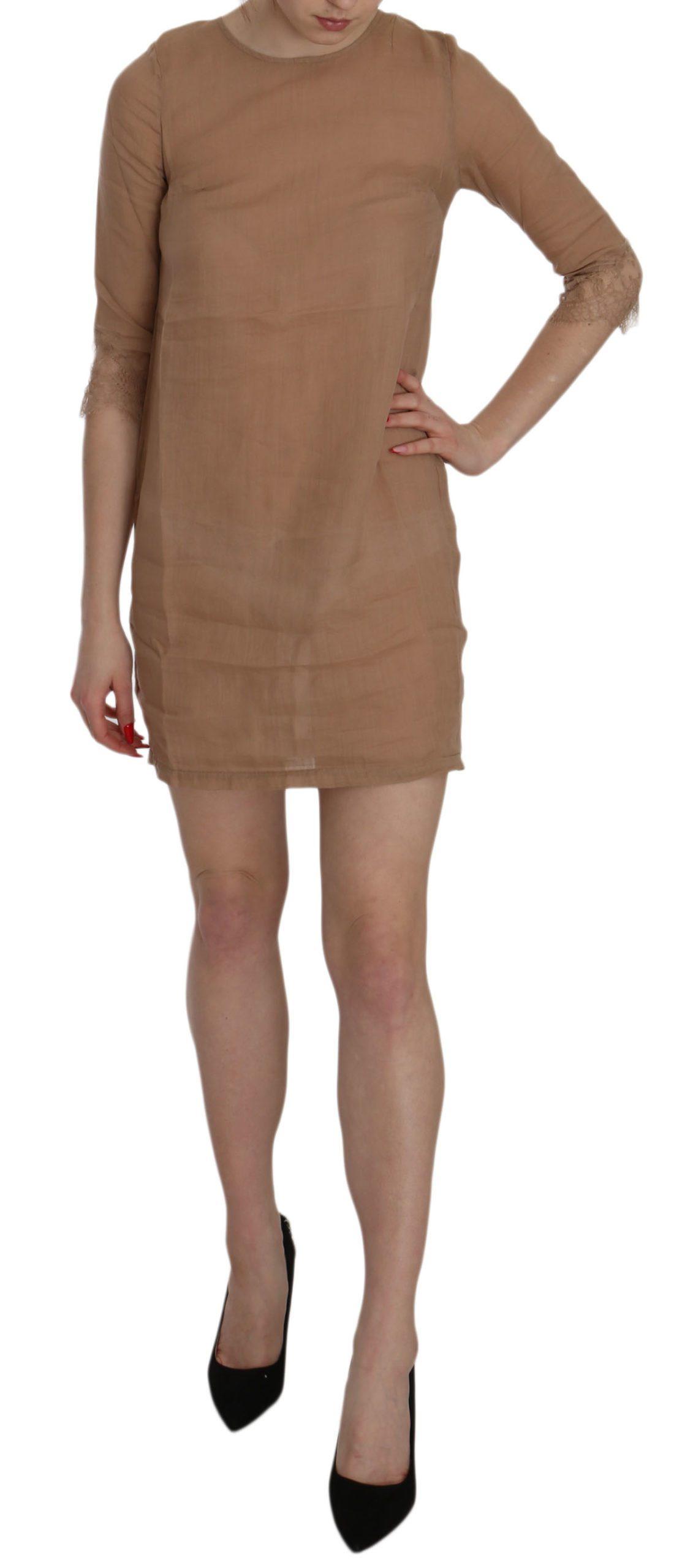 PINK MEMORIES Women's Sleeve Crewneck Shift Mini Dress Brown TSH3457 - IT40 S