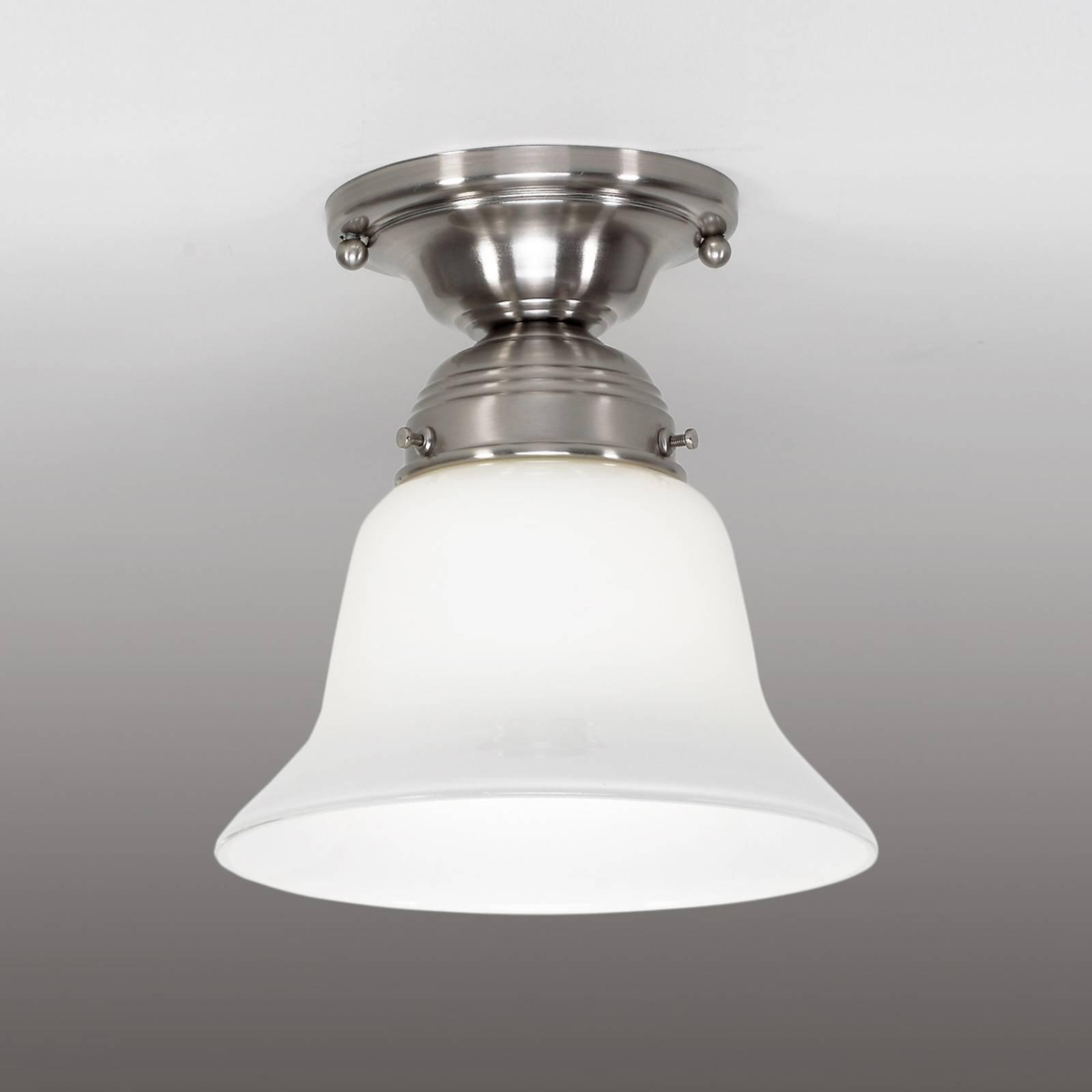 Alena taklampe, i matt nikkel med glasskjerm