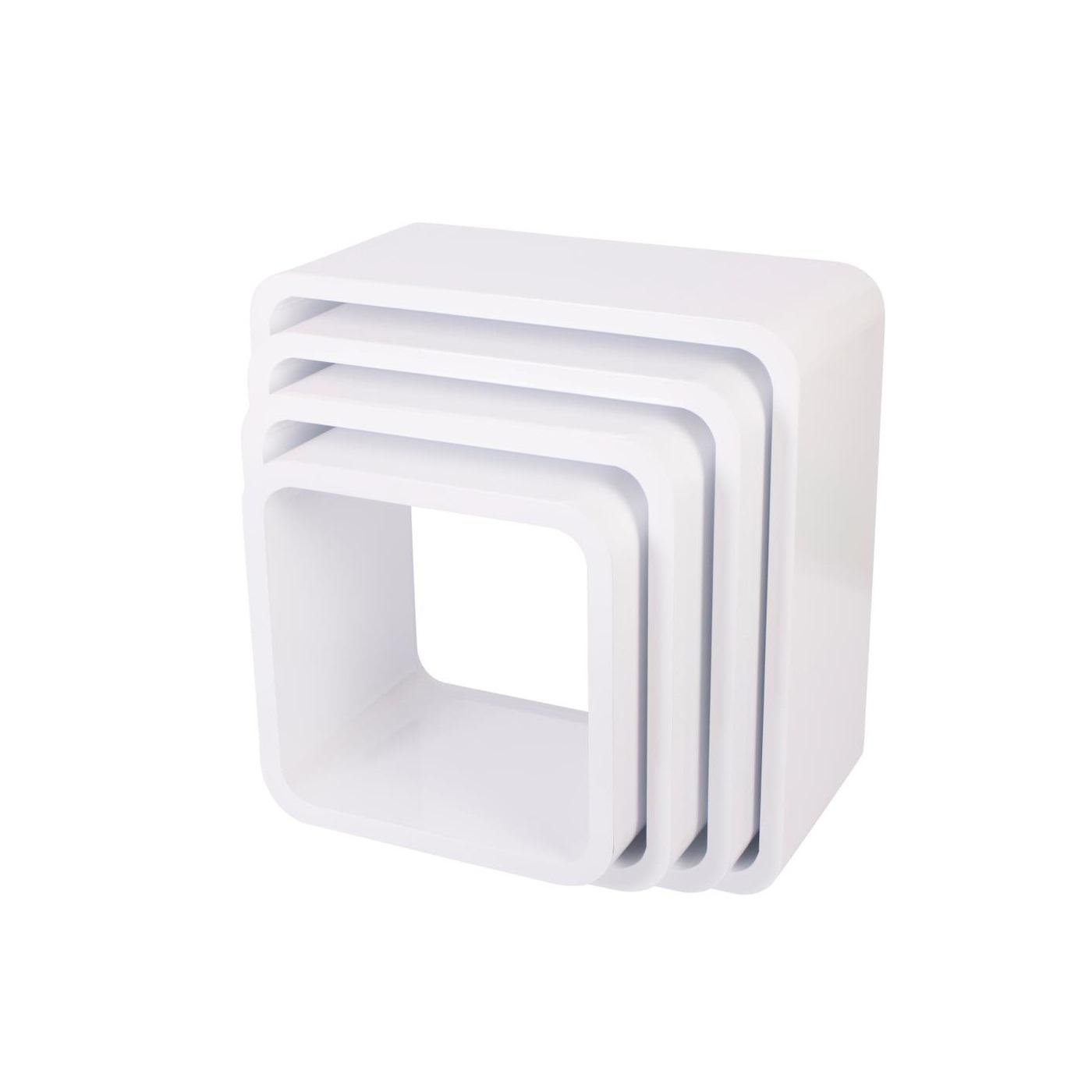 Bokhyllor kvadrat 4 st vit, Sebra Interiör