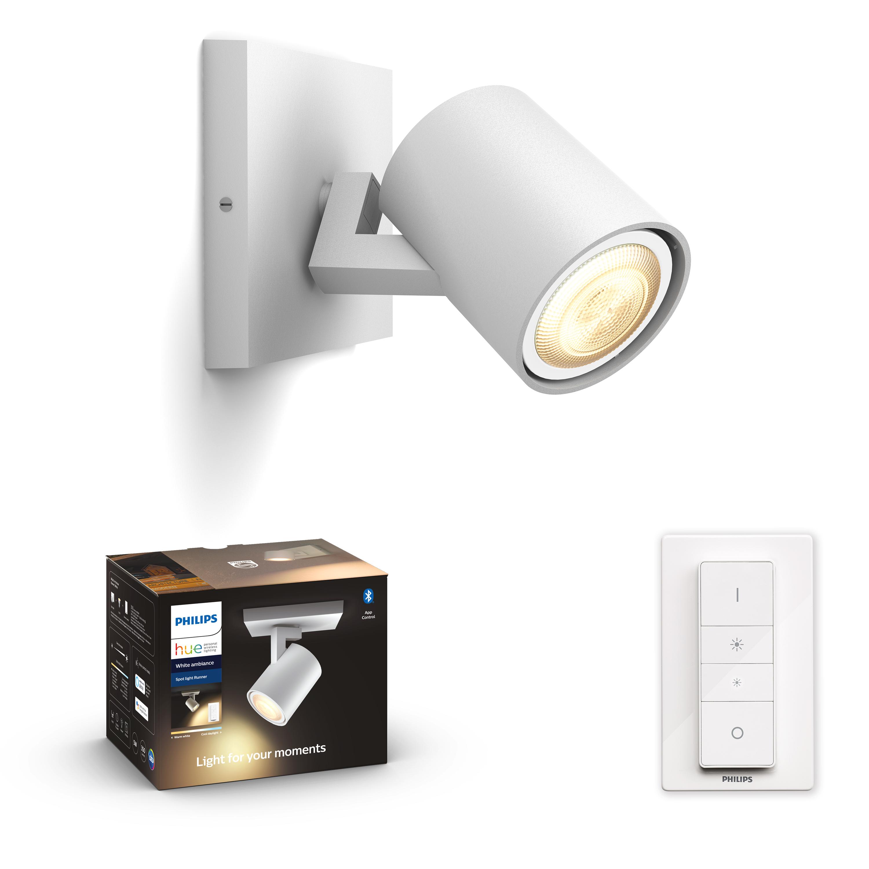 Philips Hue - Runner Hue single spot white 1x5.5W 230V - White Ambiance Bluetooth Dimmer Included