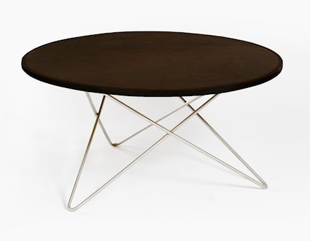 O-table leather sofabord – Mocca/stainless