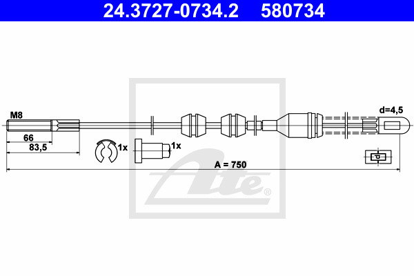 Käsijarruvaijeri ATE 24.3727-0734.2