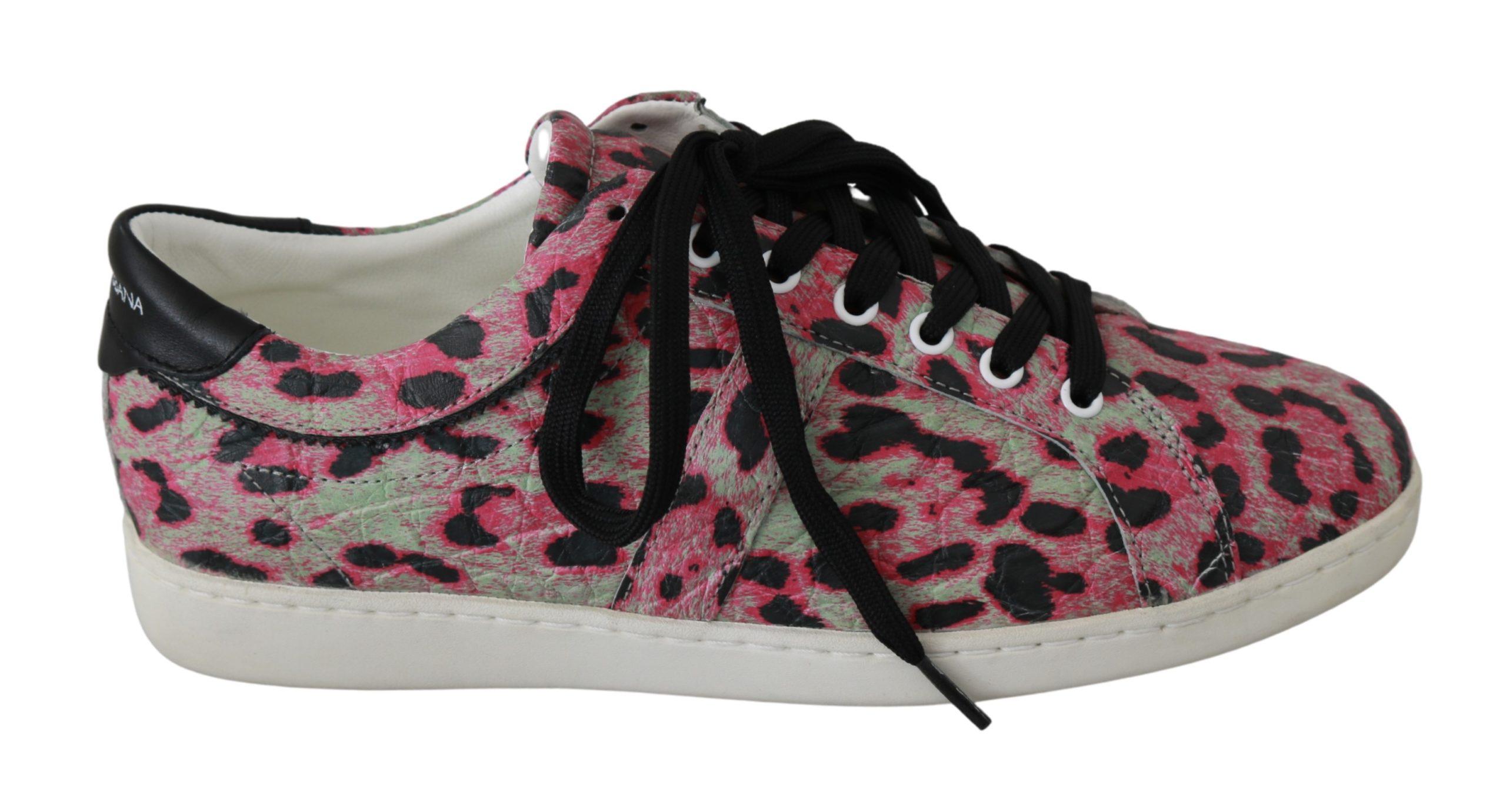 Dolce & Gabbana Women's Leopard Print Leather Trainer Multicolor MV2683 - EU42/US9