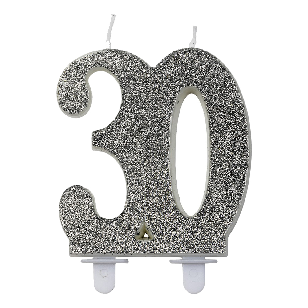 Sifferljus Glitter Silver - Siffra 30