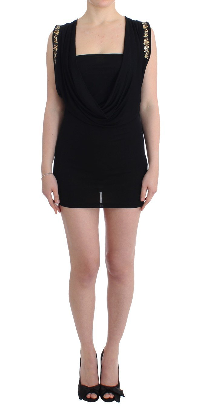 Roccobarocco Women's Embellished Jersey Mini Sheath Short Dress Black SIG11564 - IT44|L