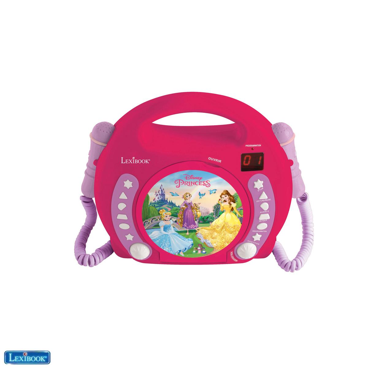 Lexibook - Disney Princess Portable CD player with 2 Sing Along microphones (RCDK100DP)