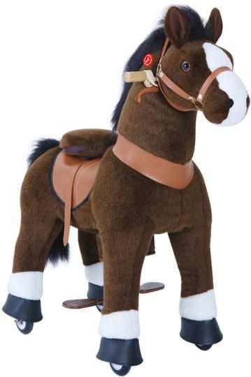 PonyCycle Ride-On Hest Stor Med Broms, Mørkebrun/Hvit