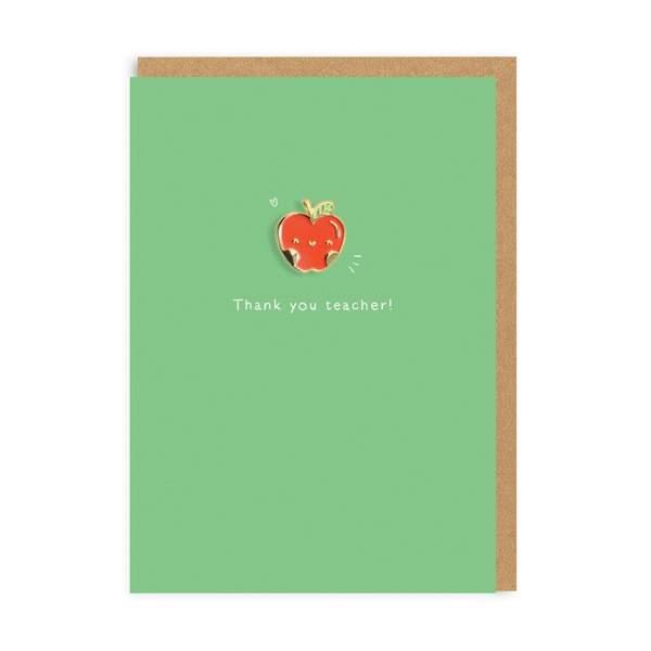 Teacher Apple Enamel Pin Greeting Card