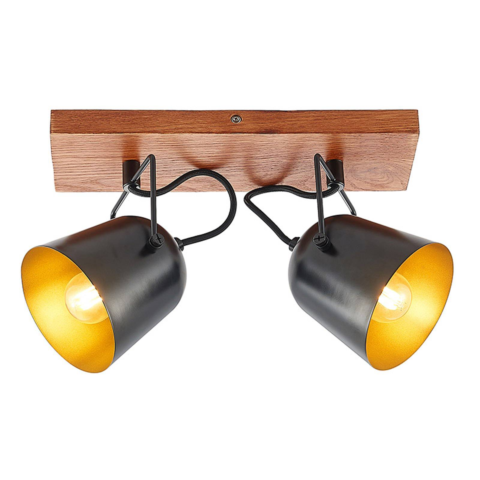Lindby Adalin -kattovalaisin, 2-lamppuinen, musta