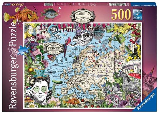 Ravensburger Puslespill Europakarta - Besynderlig Sirkus 500 Brikker