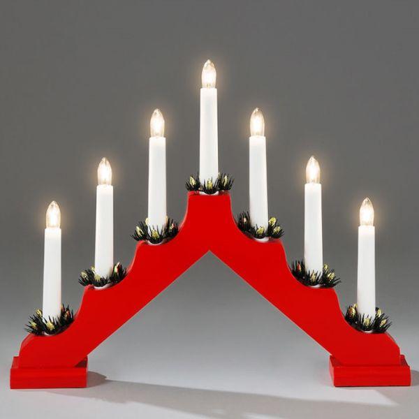 Konstsmide 2262-510 Sähkökynttelikkö 7 kynttilää Punainen