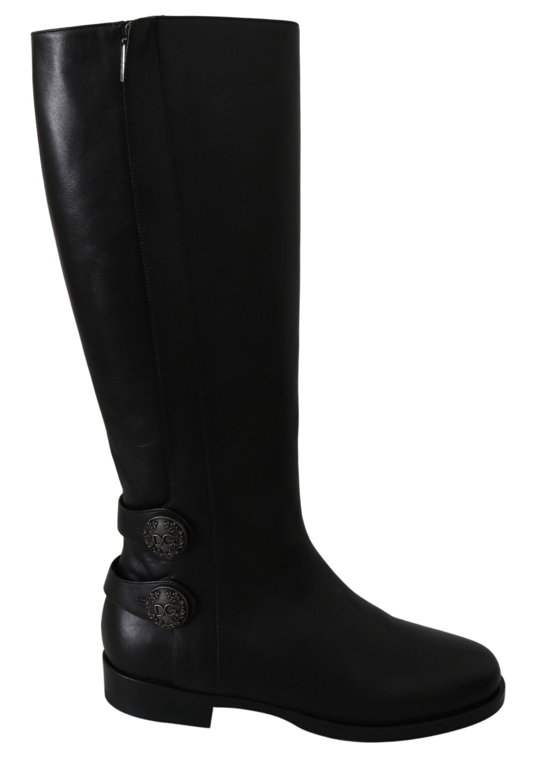 Dolce & Gabbana Women's Leather Knee High Boots Black LA6695 - EU39/US8.5