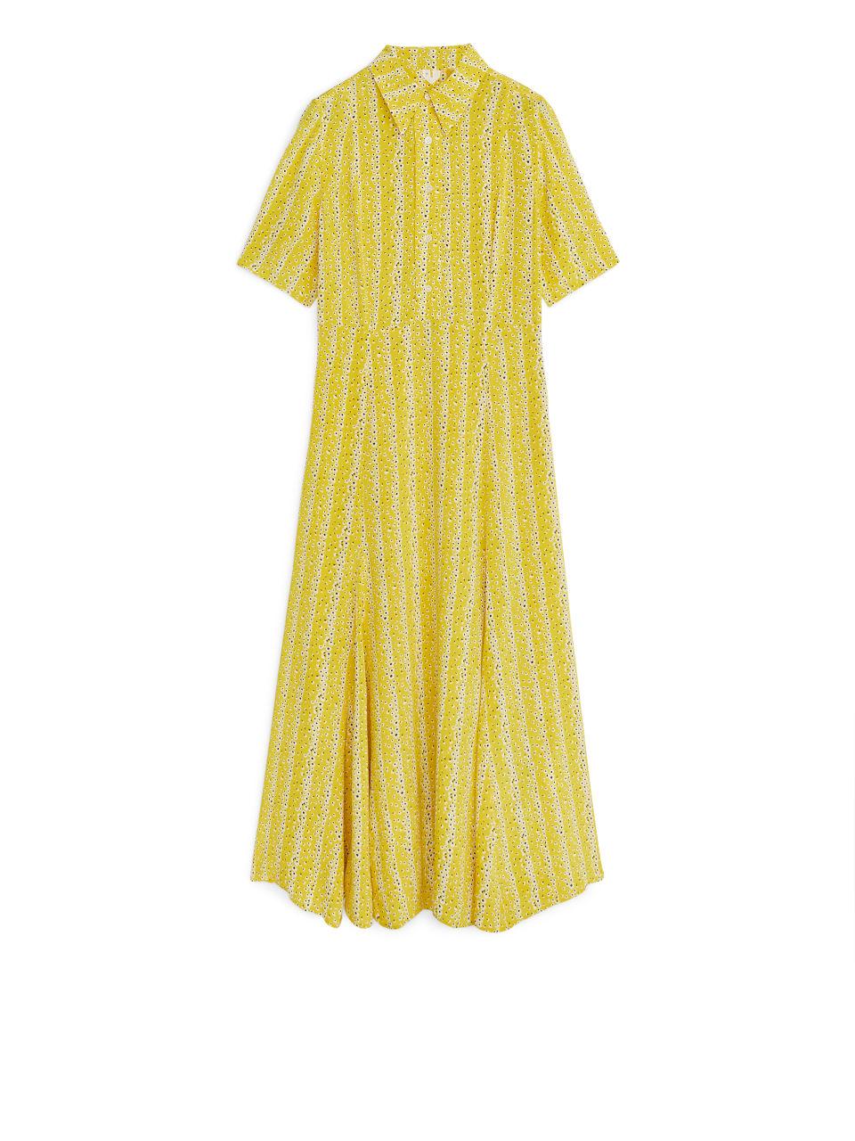 Floral Crêpe Dress - Yellow