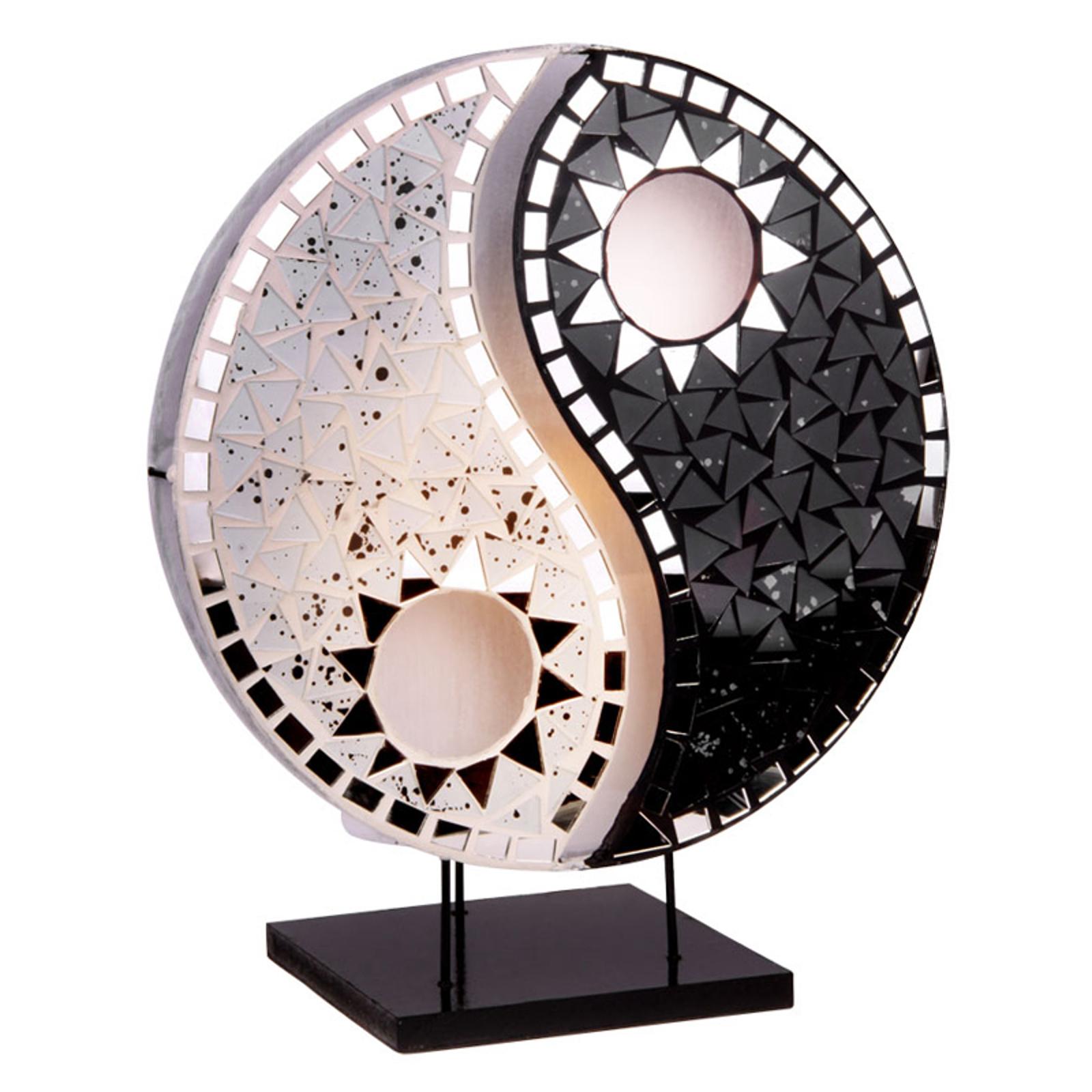 Pöytälamppu Ying Yang, mosaiikkipeilikiviä, musta