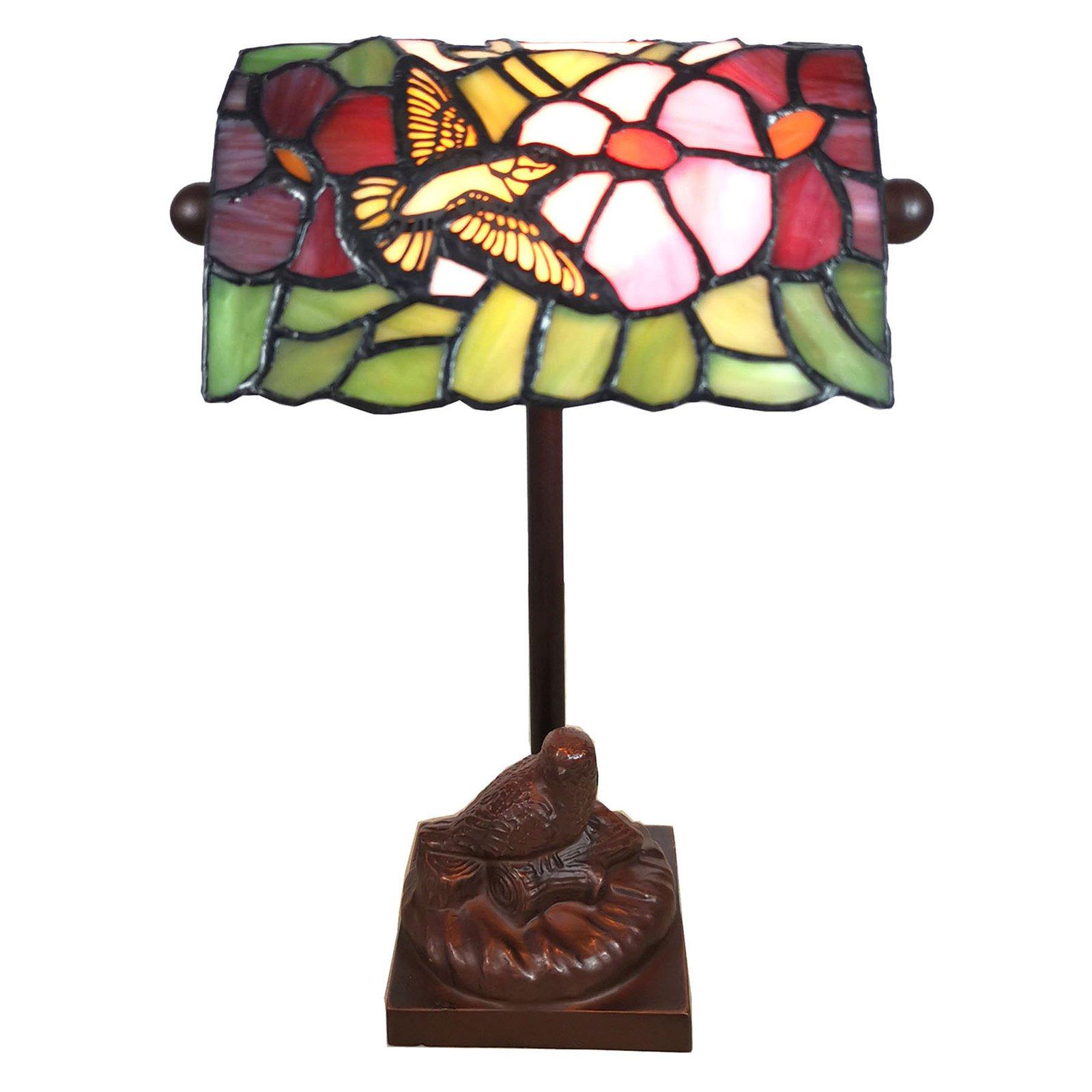 6008 bordlampe, Tiffany-stil, med fuglemotiv
