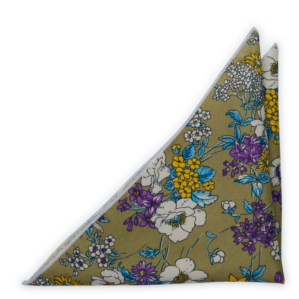 Bomull Lommetørkler, Lilla, hvite, blå & gule blomster på oliven