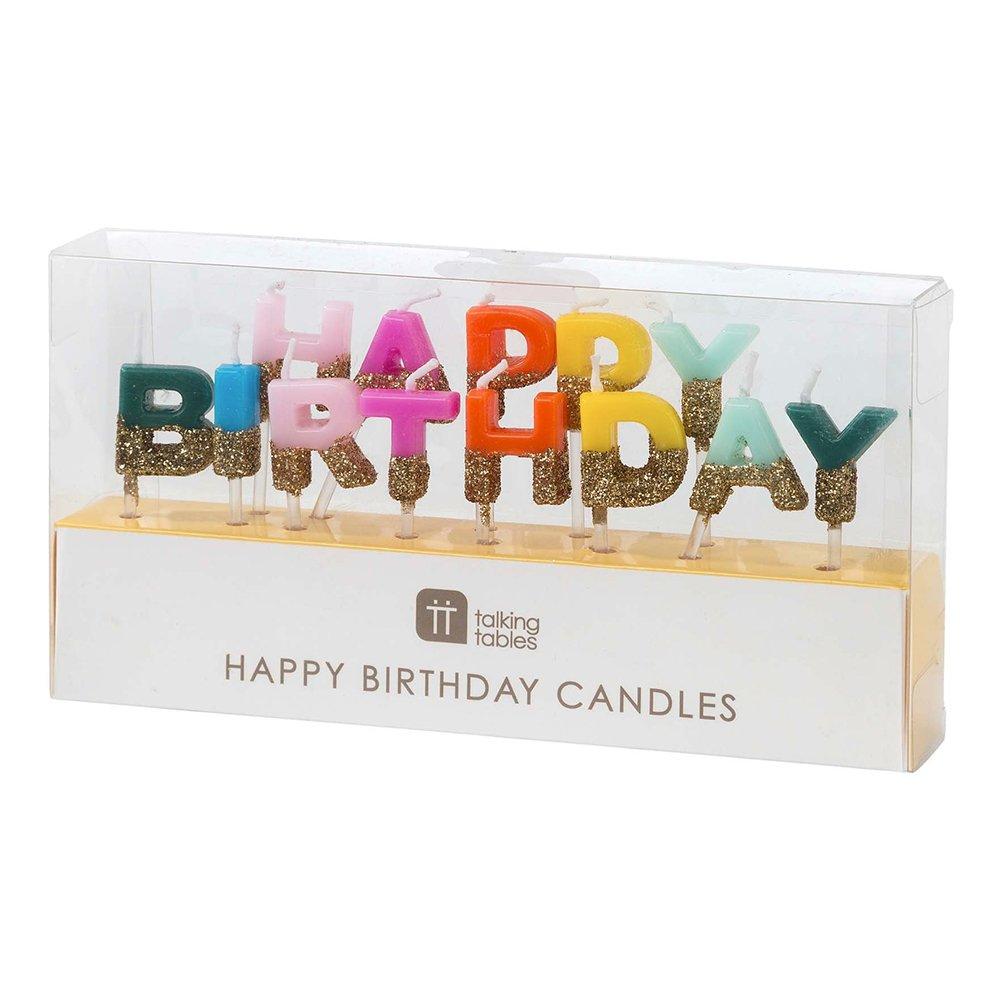 Tårtljus Happy Birthday Guldglitter