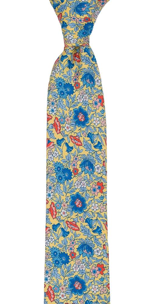 Silke Smale Slips, Blå, oransje & hvite blomster på jasmingult, Gull, Blomster