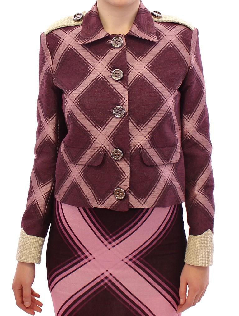 House of Holland Women's Checkered Blazer Purple GSS10685 - S