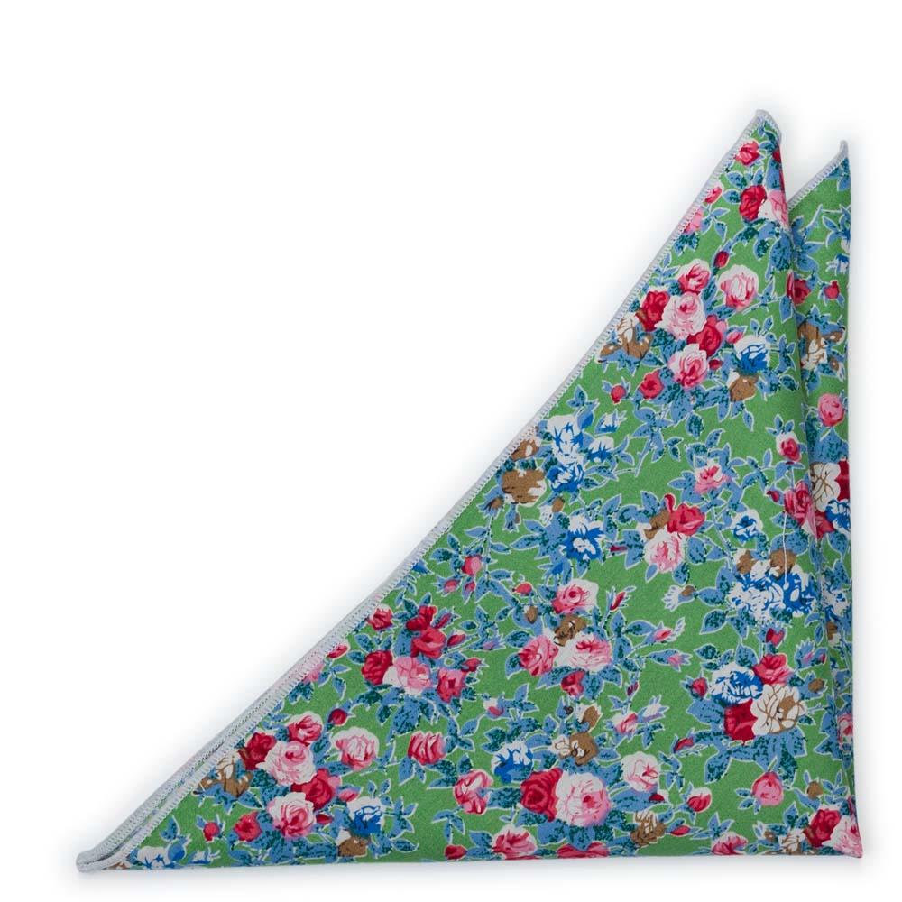 Bomull Lommetørkler, Rosa, blå og hvite blomster på eplegrønt, Grønn, Blomster