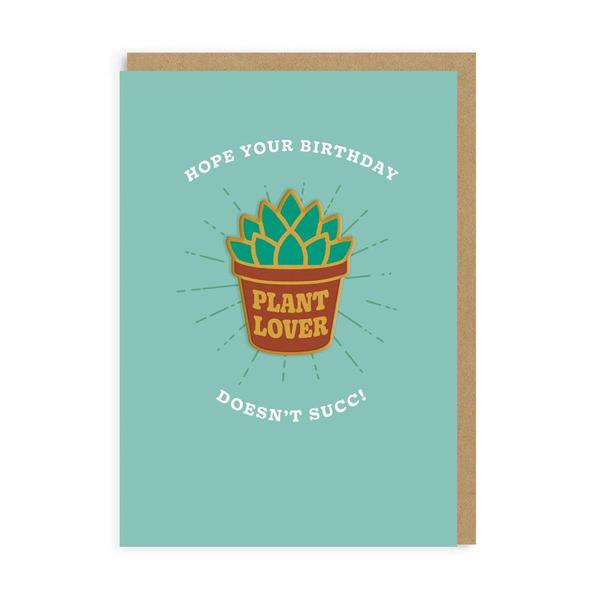 Hope You're Birthday Doesn't Succ! Plant Lover Woven Patch Card