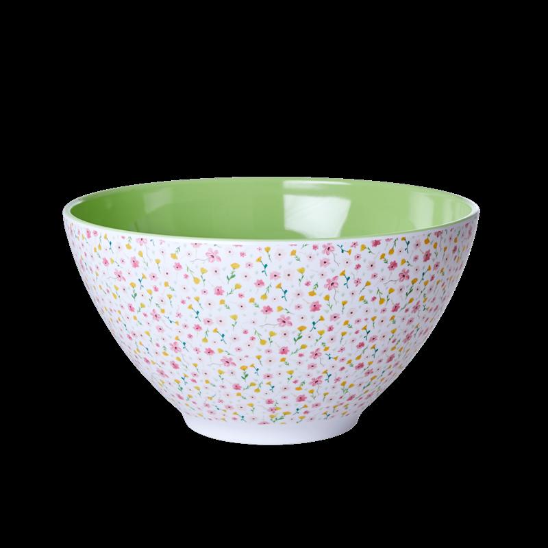 Rice - Melamine Salad Bowl - White Spring Flower Print