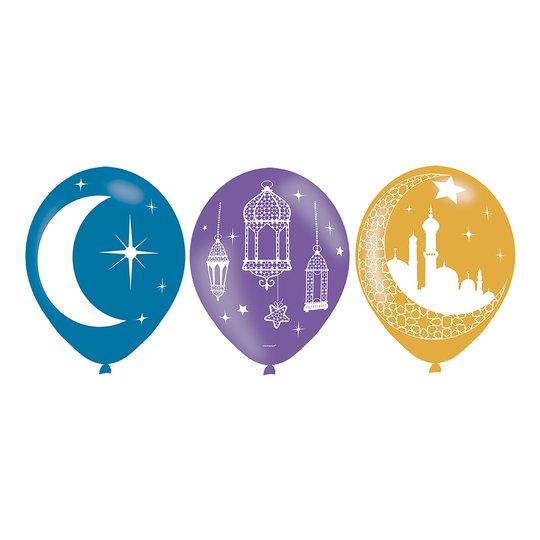 Ballonger Eid Mubarak Flerfärgade - 6-pack