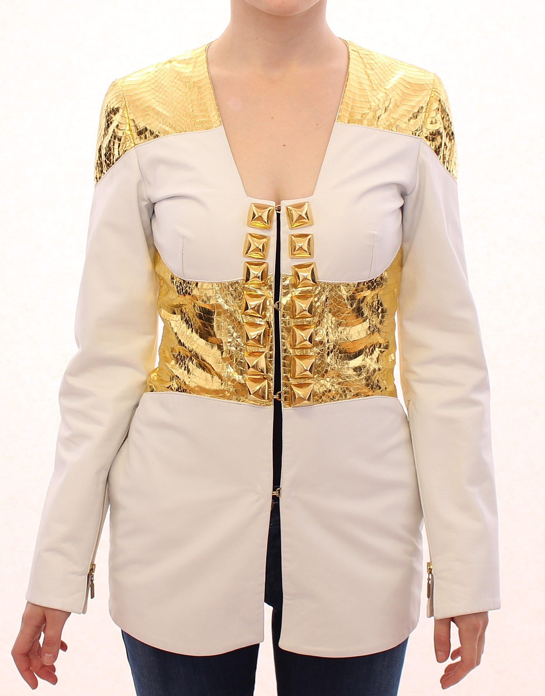 Vladimiro Gioia Women's Metallic Leather Jacket White GSS10677 - IT42|M