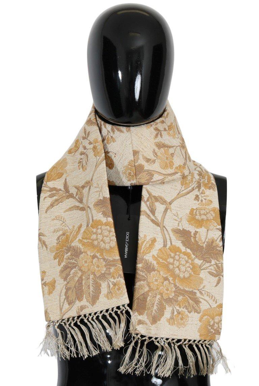 Dolce & Gabbana Men's Jacquard Cotton Scarf Beige MS1633