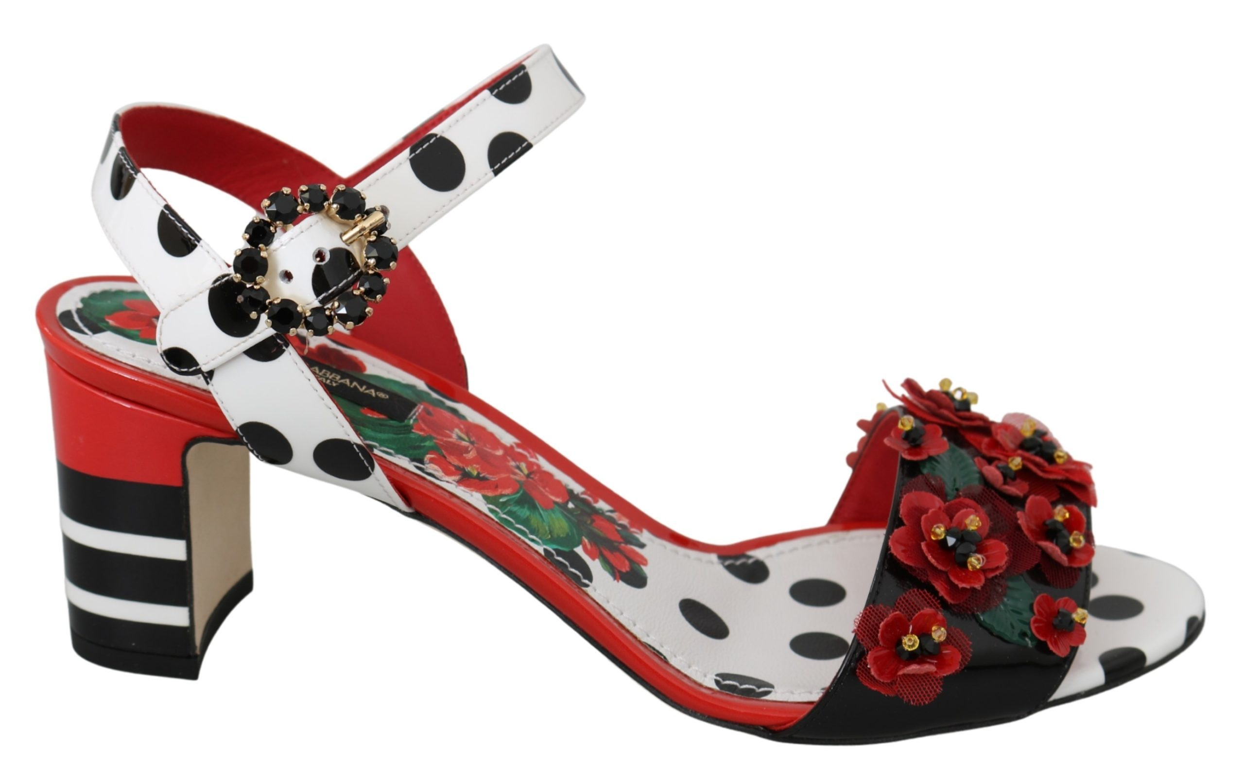 Dolce & Gabbana Women's Floral Crystal Leather Sandal Multicolor LA6994 - EU39/US8.5