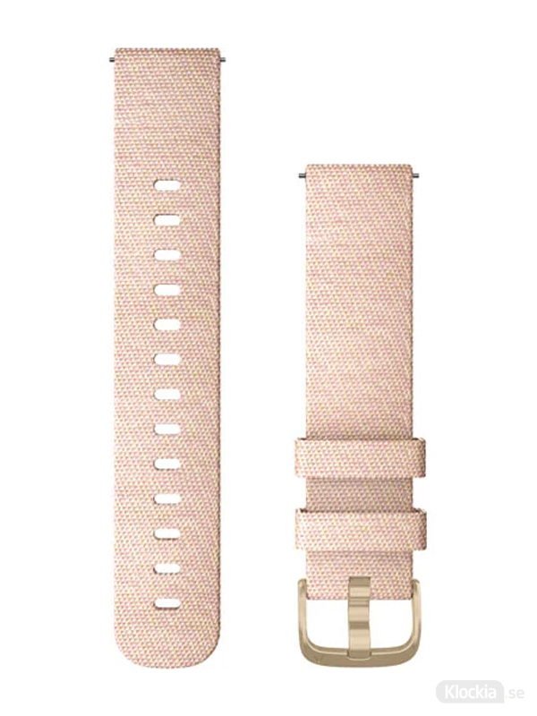 Garmin 20mm Ljusrosa vävt nylonband med detaljer i ljust guld