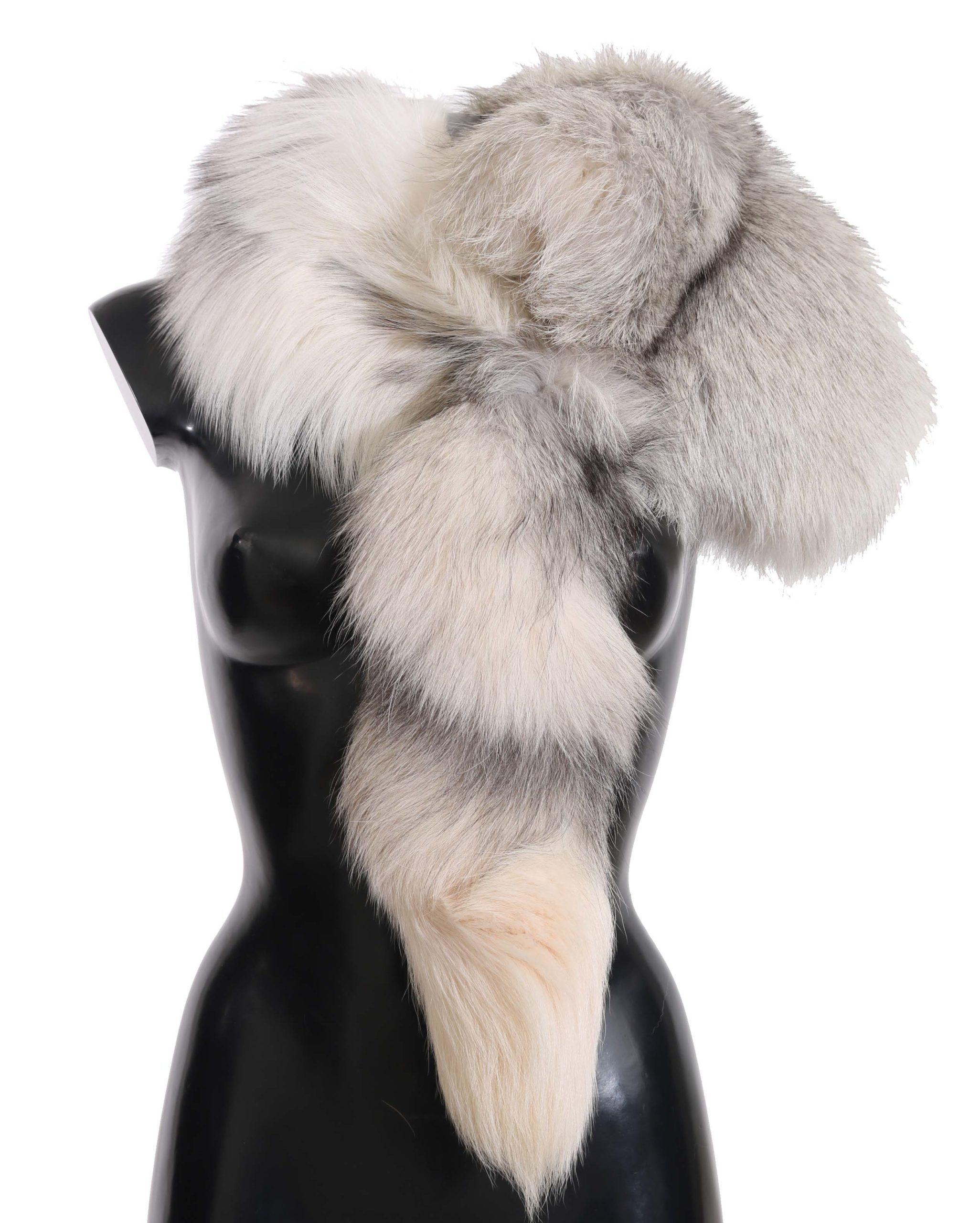 Dolce & Gabbana Women's Fox Tail Fur Wrap Collar Scarf White MS2308