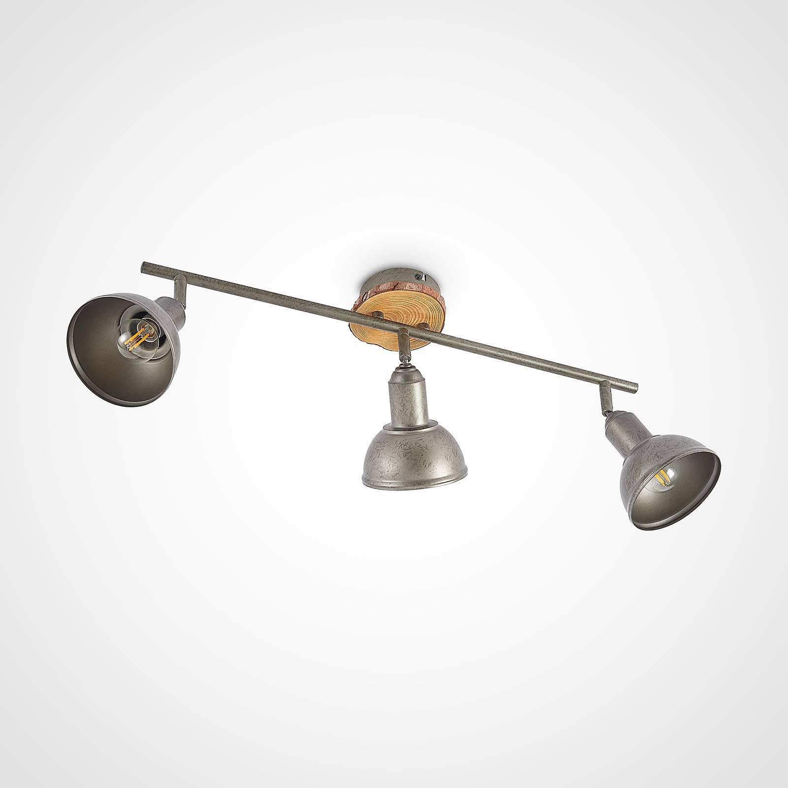 Lindby Nesrin taklampe med treskive, 3 lyskilder
